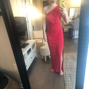 One Shoulder Red BCBG Gown